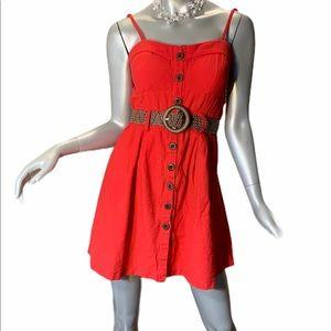 Poetry Mini Dress with Belt Spaghetti Stripes